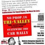 No Prop 16 Tri-Valley car rally July 18 10:30AM