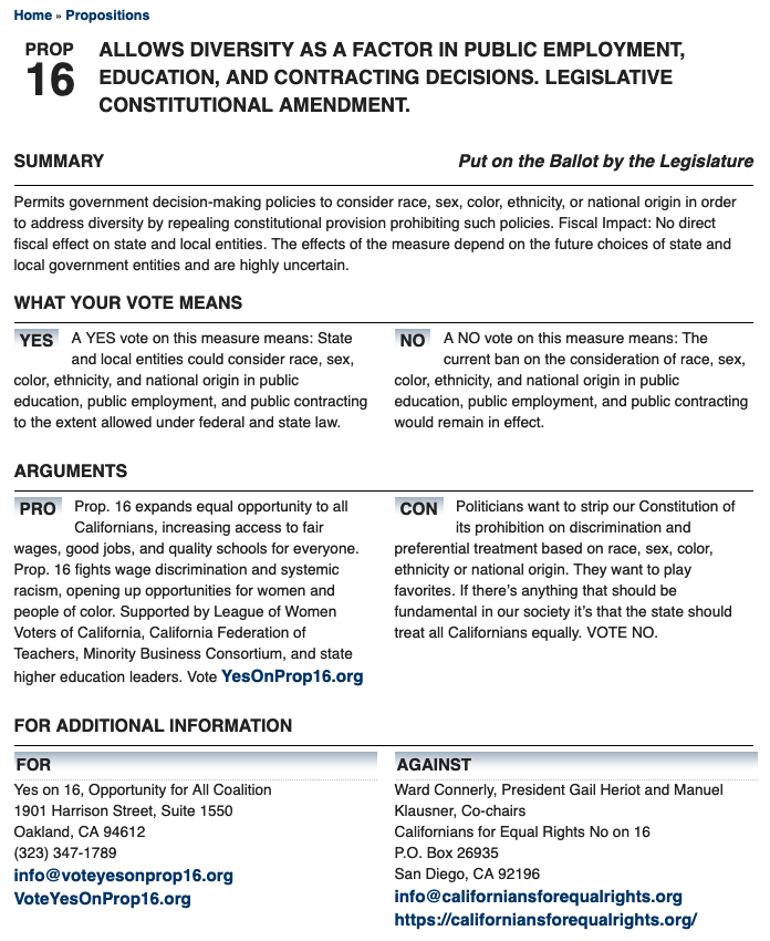 Official Voter Guide on Prop16